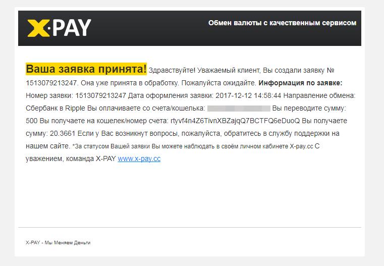 сообщение на email о принятии заявки в XPAY